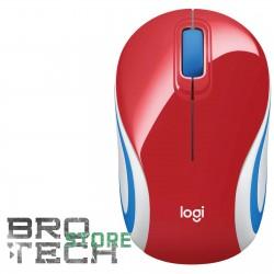 MOUSE OTTICO WIRELESS USB MINI LOGITECH M187 ROSSO RED